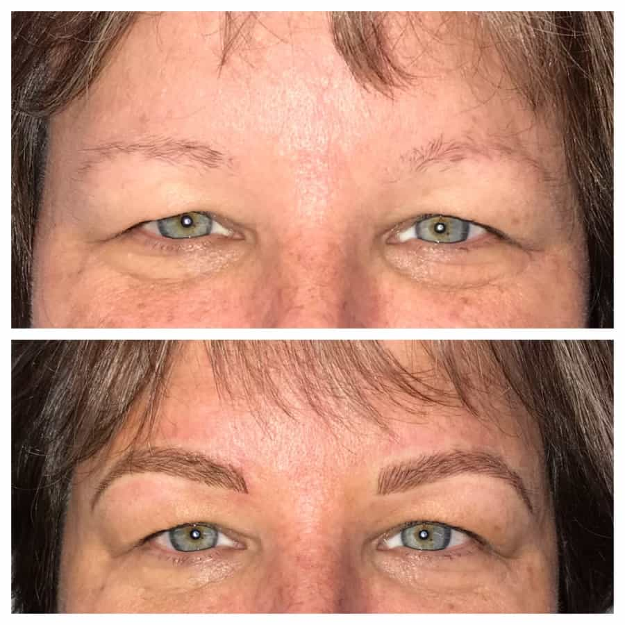Before Sparse Brows After Gorgeous Microblading
